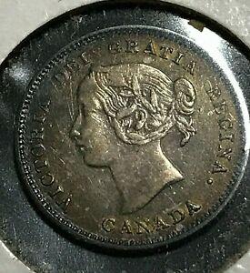 1900 CANADA  SILVER 5 CENTS QUEEN VICTORIA HIGH GRADE COIN