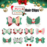 Hair Clips Santa/Elk Hairpins Kids Hair Bows Clips Girls Hair Accessories