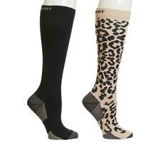 Copper Fit Knee High Compression Socks 2 pack Leopard/Black Size L / XL
