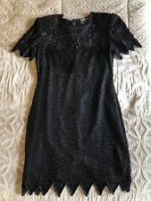 laurence kazar Vintage Sequin Dress Black Beaded Sz L