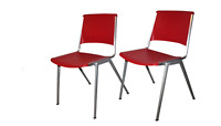 Vtg 70s Mid Century Modern MCM Set of 2 Steelcase Stackable Plastic Chairs Red