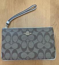 Coach F58695 Signature PVC Large Wristlet Clutch Pouch Khaki Chalk Bag Handbag