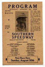 Southern Speedway Auto Racing Program 1936-Rajo Jack AA driver-Rare!