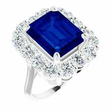 Stunning Blue Emerald Cut 8.35CT Sapphire With Clear Round CZ Halo Party Ring