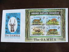 Gambia WWF animals FDC First Day Cover 341a Souvenir Sheet nice!