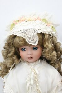 """Signed Dilly K Treasured Heirloom 24"""" Blonde Angle Lace Dress Porcelain Doll"""