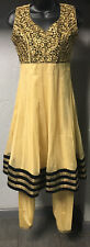 Salwar Kameez 2 Piece Set Gold Black Silk Sleeveless Beads Embroidered Sz 32