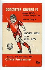 (Ga5207-469) Doncaster Rovers vs Hull City League Cup 4th Round 11/11/1975 G-VG