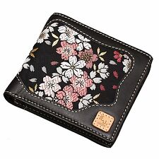 Kyoto cherry blossom leather wallet two fold wallet / Japanese pattern / real le