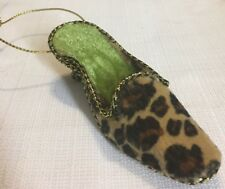 Christmas Ornament SHOE Leopard Shoes High Kitten Heel Slide Diva Elegant Fur