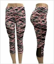 Womens Sport Capri YOGA Workout Running Gym Pants Leggings Fitness L/XL