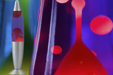 Große Lavalampe Lavaleuchte ROT / BLAU - METALL & GLAS - inkl. Leuchtmittel