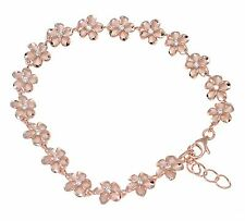 "Plumeria Flower Anklet Cz 8Mm 10""+ Pink Rose Gold Silver 925 Hawaiian Fancy"