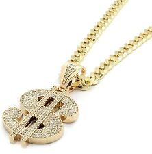 """Mens Gold Iced Out Money Sign Mula Pendant Hip-Hop 30"""" Inch Cuban Necklace Chain"""
