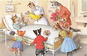 D57/ Alfred Mainzer Animal Postcard c1910 Comic Dressed Cats Hospital Kitten 5