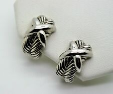 A013 Modern Classic Designer Style X stretch Rhodium Plate Clip Fashion Earrings