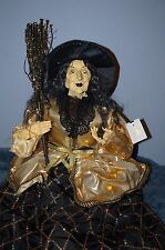 """SHELF SITTER WITCH DOLL VICTORIAN HALLOWEEN DECOR 29"""" inch ARTISTIC MADE DOLL"""