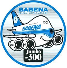 "SABENA BELGIAN WORLD AIRLINES BOEING JUMBO 747-300 4"" ROUND STICKER"