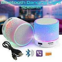 Bluetooth Wireless Speaker Portable Round Shape LED Rechargeable Lights Top A3N6