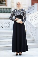 Turkish Muslim Bolero Design Abaya Dress Black/WITH Gift Necklace