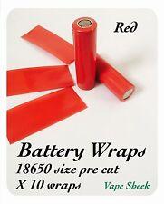 Envolturas de Batería X Roja 10 Piezas Pvc Manga Termocontraíble Pre Corte 18650