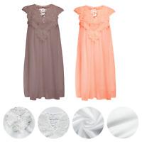 Womens Sleeveless Beach Lace Mini Dress Summer Casual Chiffon Vest Tank Tops