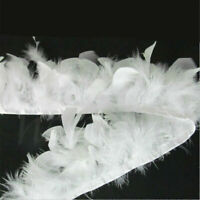 1M White Soft Turkey Feather Fringe Trim for DIY Sewing Millinery Decor