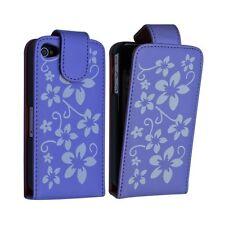 Housse étui coque pour Apple Iphone 4 couleur violet motif fleurs + film protect