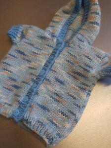 HANDMADE BABY CARDIGAN HOODED CARDIGAN 3-6 MONTHS BLUE MIX