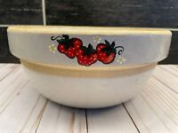 Vtg Antique Beige Glazed Stoneware Pottery Mixing Bowl Hand Painted Strawberries