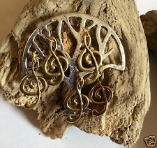 MUSIC TREE  BROOCH / PIN SILVER TONE WITH TREBLE CLEFS GOLD TONE