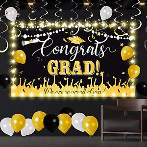 7x5 Gold and Black Caps Photo Backdrop-Congrats Grad Decor Supplies-Background for Graduation Season W-1416