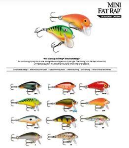 Rapala Mini Fat Rap // MFR03 // 3cm 4g Fishing Lures (Choice of Colors)