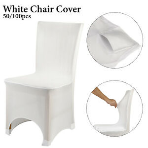 50/100pcs Dining Chair Seat Covers Slip Stretch Wedding Banquet Party Removable