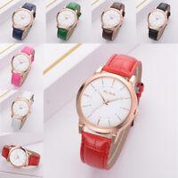 Fashion Womens Quartz Analog Watch Leather Strap Band Golden Pointer Wrist Watch