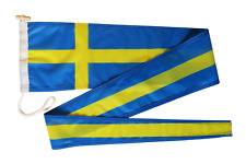 More details for sweden flag vimpel pennant streamer with rope and toggle - various sizes