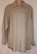 Guess Collection Beige 100% Linen Long Sleeve Button Front Top Size Medium