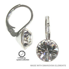 8mm swarovski elements Earrings in the Color Shadow Crystal, Grey Transparent
