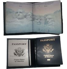 Lot of 2. New USA Leather Passport Case, Wallet with Card Space. Genuine leather