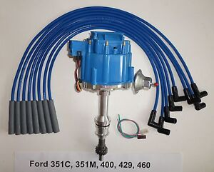 BIG BLOCK FORD HEI Distributor 351C 351M 400 429 460 + BLUE Spark Plug wires USA