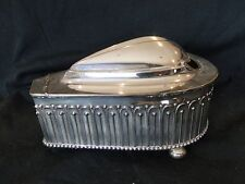 SPOON WARMER SILVER PLATE ELKINGTON CHASED BEADED-HINGED TOP ANTIQUE STYLISH