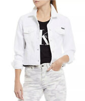 Calvin Klein Jeans Raw Hem Cropped Denim Jacket White Women's Sz XL MSRP $89.00.