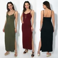 Womens Ladies Open Side Maxi Dress Strappy Stretch Loose Long Skirt Summer Party