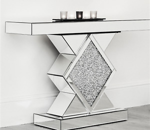 Luxury Mirrored Crushed Diamond Console Table Hallway Table Living Room Designer