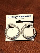 lucky brand hoop earrings silver tone new with tags