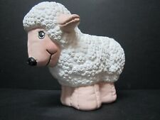"""Vintage Ceramic Lamb Sheep Figurine Curly Textured Body 6"""" T x 6"""" L Easter Decor"""