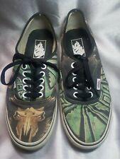 Bull Skull Black & Green Aztec Pattern Men's 7 Women's 8.5 Vans Authentic Shoes
