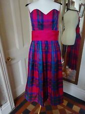 Gorgeous Monsson Twilight vintage silk checked dress, vibrant colours, size 10