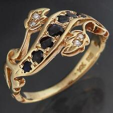 Victorian Revival Solid 14k YELLOW GOLD SAPPHIRE & DIAMOND Eternity RING Sz M1/2