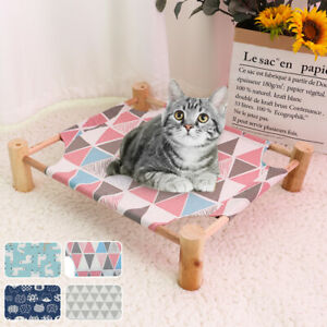 Elevated Cat Bed House Cat Hammocks Bed Wood Canvas with Free 3PCS Replace Mats